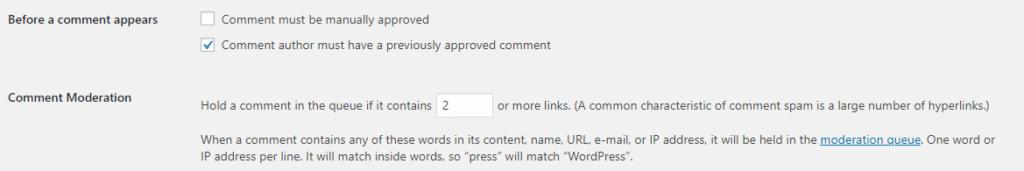 WordPress Comment Moderation Settings