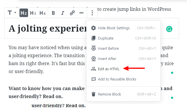 Edit HTML in Gutenberg Editor