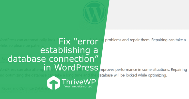 "Fix ""error establishing a database connection"" in WordPress"