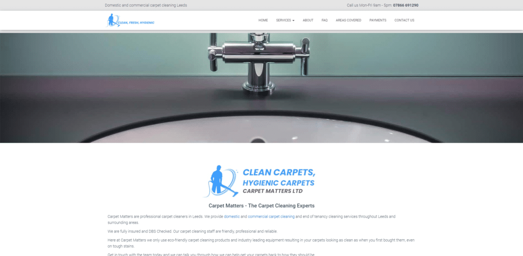 Carpet cleaning website design