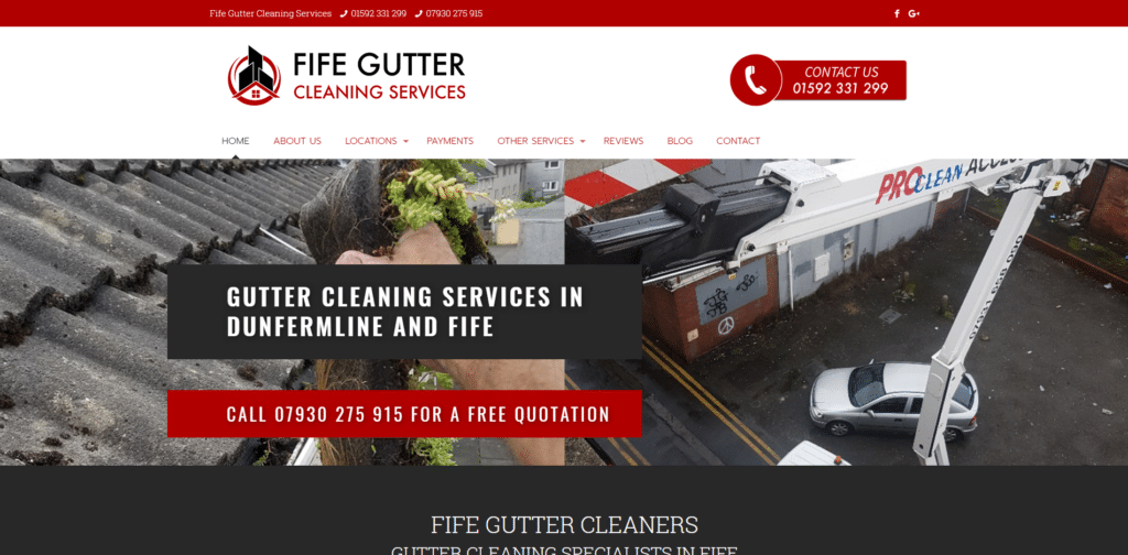 Gutter Cleaning Website Design