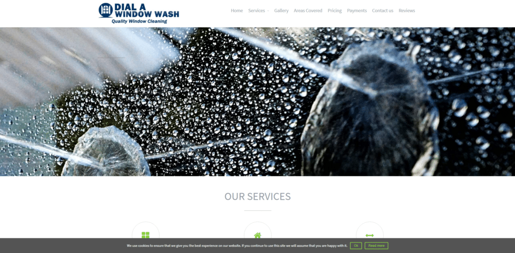 Homepage of Dial A Window Wash Designed By ThriveWP