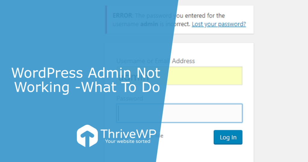 WordPress Admin Not Working