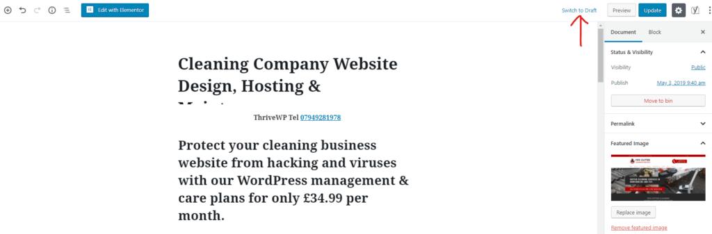 Save WordPress Post As Draft