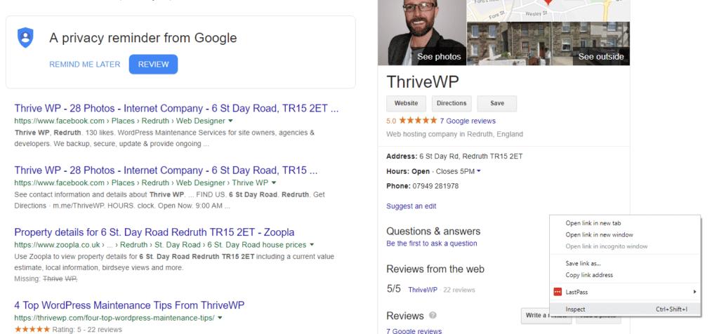 ThriveWP Google Listing